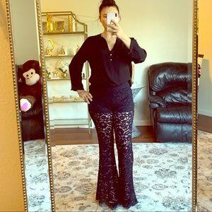 Zara lace bell bottom pants